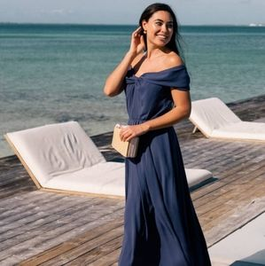 Gal Meets Glam Navy off the Shoulder Maxi